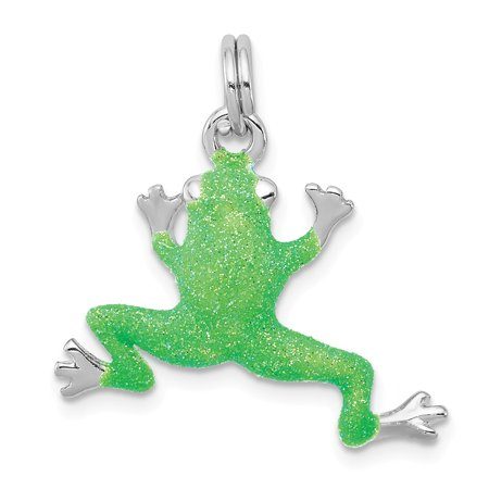 925 Sterling Silver Green Enamel Frog Charm Pendant - 22mm x 24mm Enamel Frog Charm