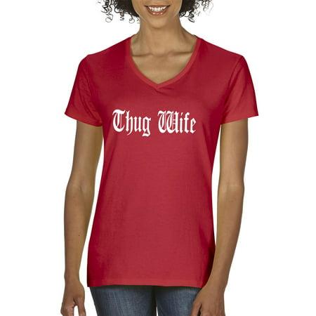 New Way 668 - Women's V-Neck T-Shirt Thug Wife Happy Life Old English