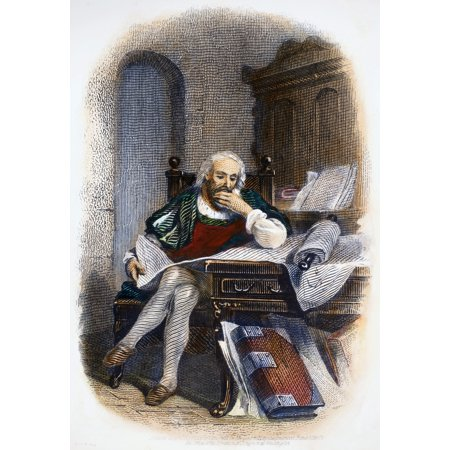 Christopher Columbus N 1451 1506  Italian Navigator Columbus In His Study Steel Bank Note Engraving American 1871 Poster Print By Granger Collection