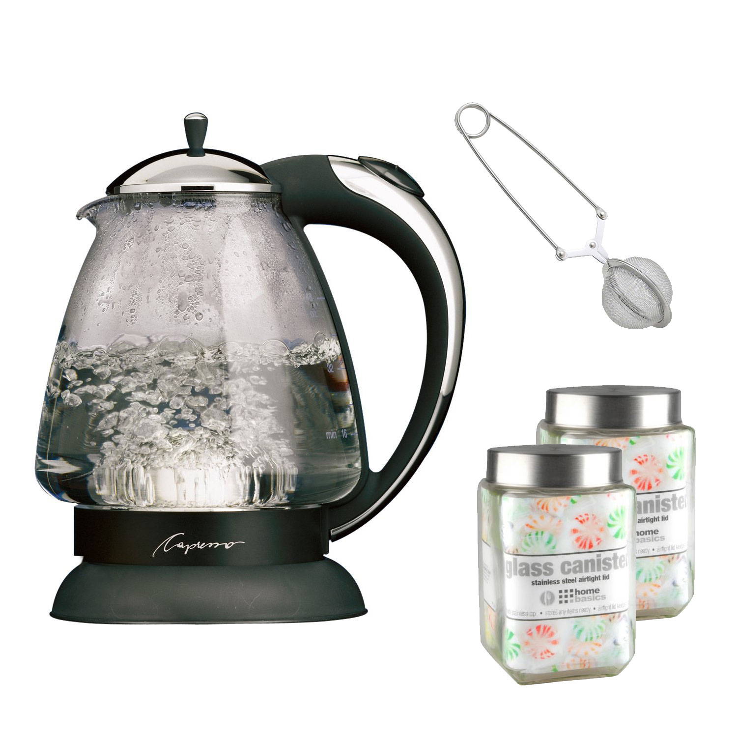 Capresso 259.03 H2O Plus 6-Cup Safety Glass Water Kettle (Polished Chrome) with Two Square Glass Jars and Snap... by Capresso