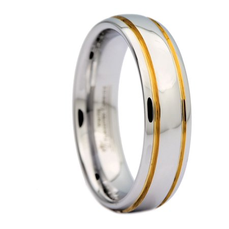 6mm Polished White Tungsten Carbide Ring 2 Gold Stripes MJ Wedding Band -