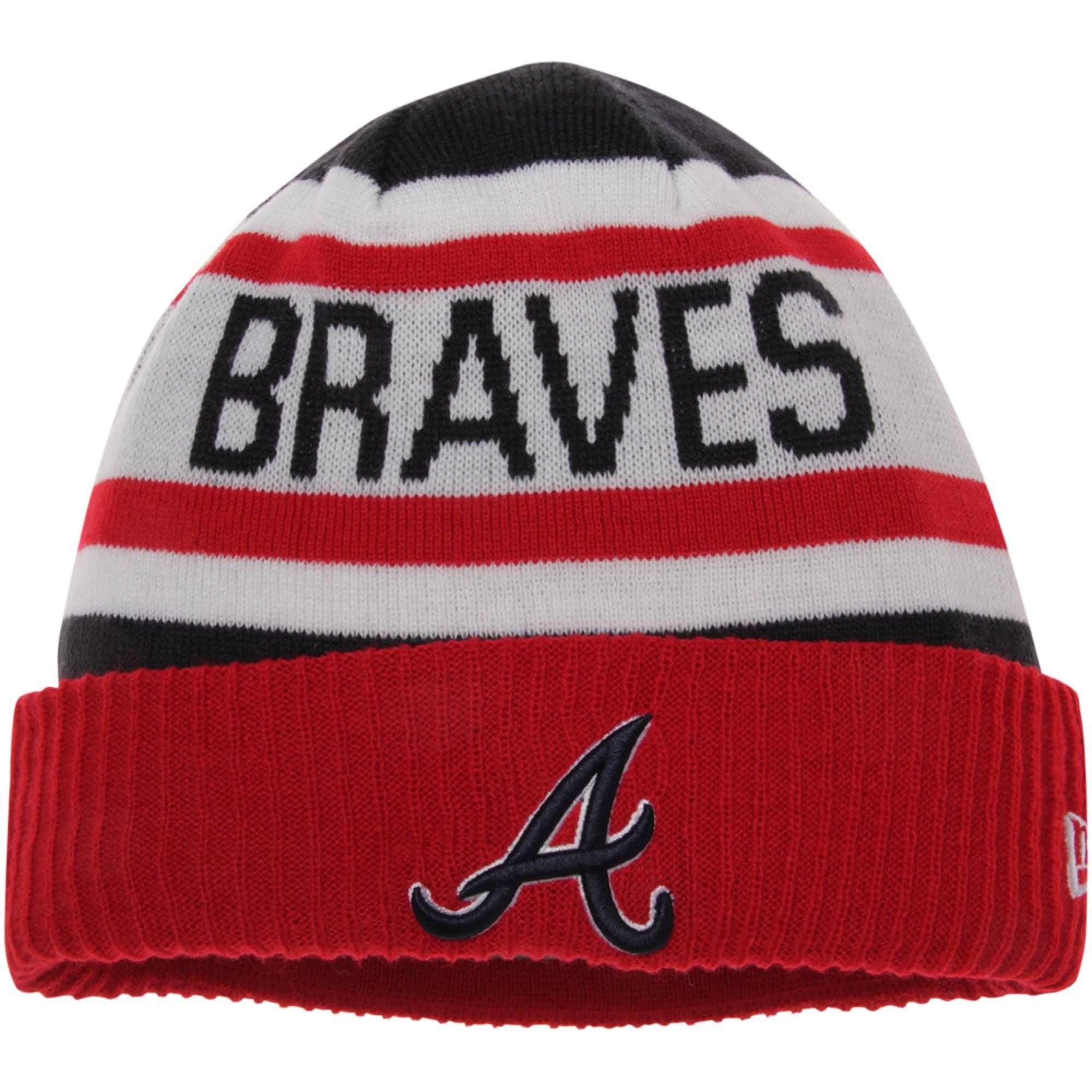 Atlanta Braves New Era Biggest Fan 2.0 Cuffed Knit Hat - White/Red - OSFA