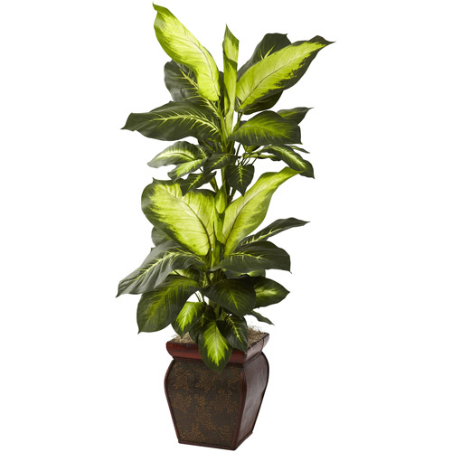 Nearly Natural Golden Dieffenbachia with Decorative Planter