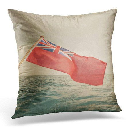 ARHOME The UK Red Ensign British Maritime Flag Flown from Yacht Sail Boat Blue Sky and Baltic Sea Summer Pillow Case Pillow Cover 18x18 inch