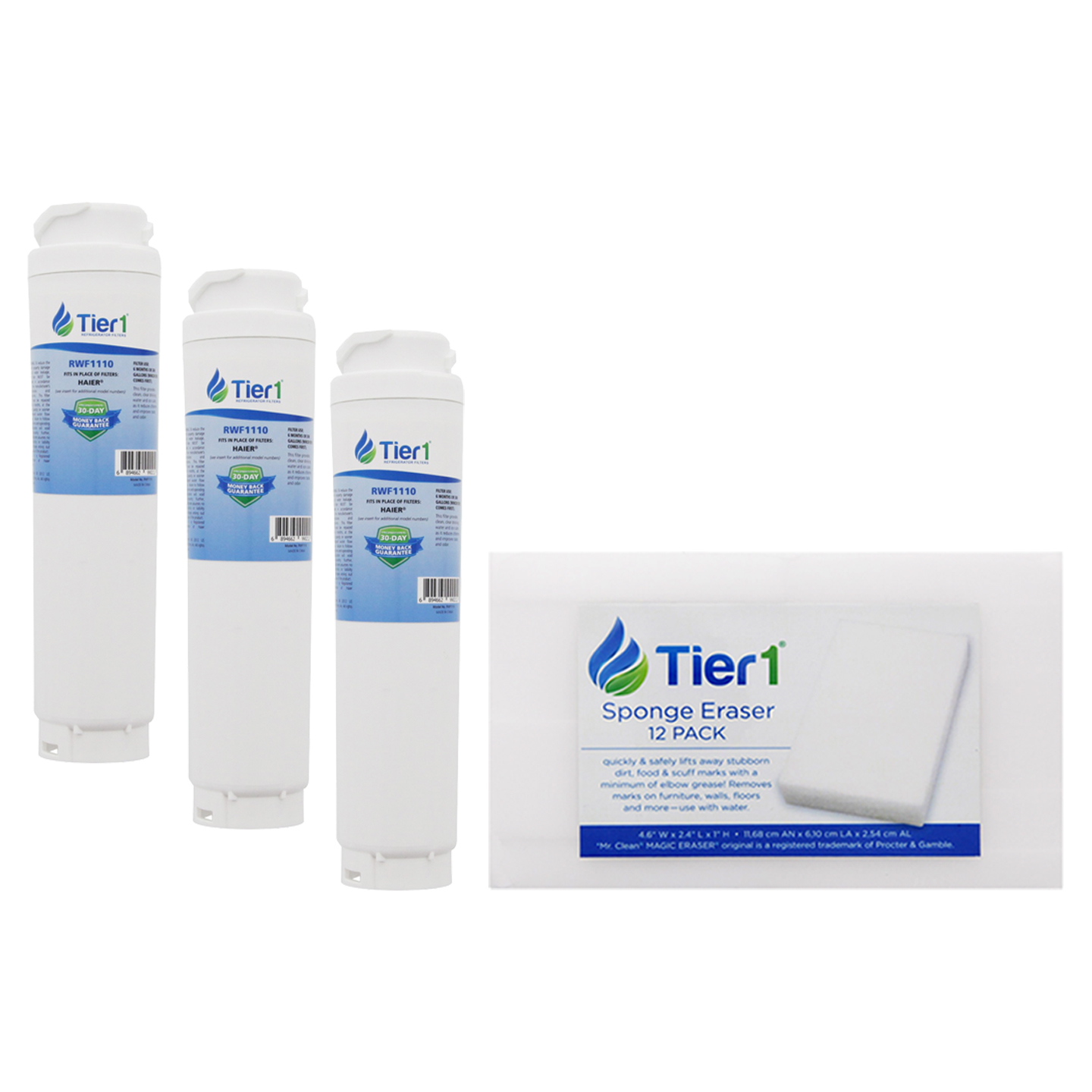 Tier1 Replacement for Bosch 644845 / UltraClarity REPLFLTR10 Bosch  Refrigerator Water Filter Replacement by Tier1 (3-Pack) and Magic Erasing  Sponge