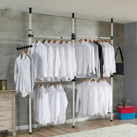 Yosoo Pull Down Clothes Rail Lift Adjule Width Wardrobe Hanging Soft