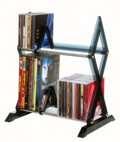 Atlantic 6483-5193 Mitsu 2-tier Media Rack Stnd Holds 52 Cds Or 36 Dvds blu-rays by Atlantic