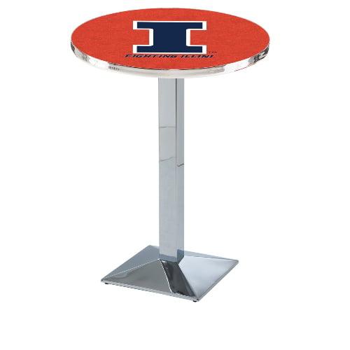NCAA Pub Table by Holland Bar Stool, Chrome - Fighting Illini, 36'' - L217