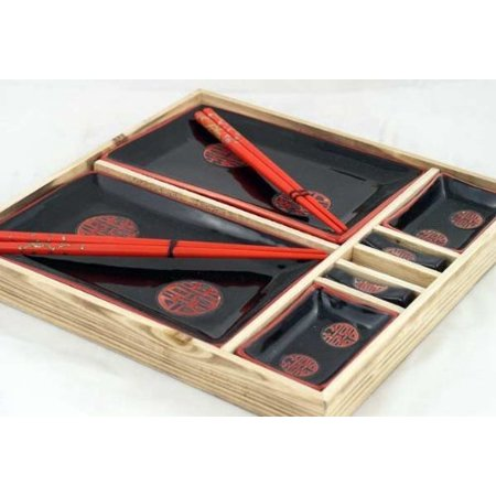 Sushi Set For Two - Contemporary Dinnerware 8 PCS Sushi Dinner Set For Two In Gift Box