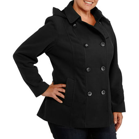 3bba13a658 Faded Glory - Faded Glory Women s Plus-Size Double-Breasted Faux Wool  Peacoat With Hood - Walmart.com