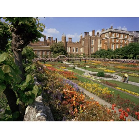 Garden Hampton Court Palace - Sunken Gardens, Hampton Court Palace, Greater London, England, United Kingdom Print Wall Art By Walter Rawlings