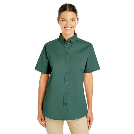 Branded Harriton Ladies Foundation 100% Cotton Short Sleeve Twill Shirt Shirt Teflon - HUNTER - L (Instant Saving 5% & more on min 2)