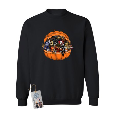 Pumpkin Halloween Scary Characters Mens Womens Crewneck Sweatshirt