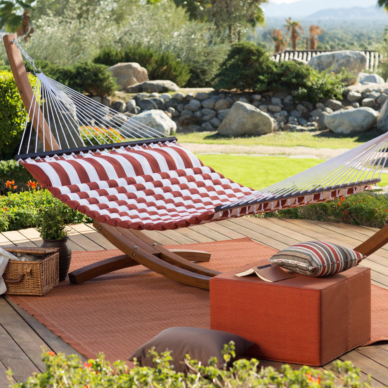 Belham Living 13 ft. Thick Stripe Pillow Top Hammock with Russian Pine Stand