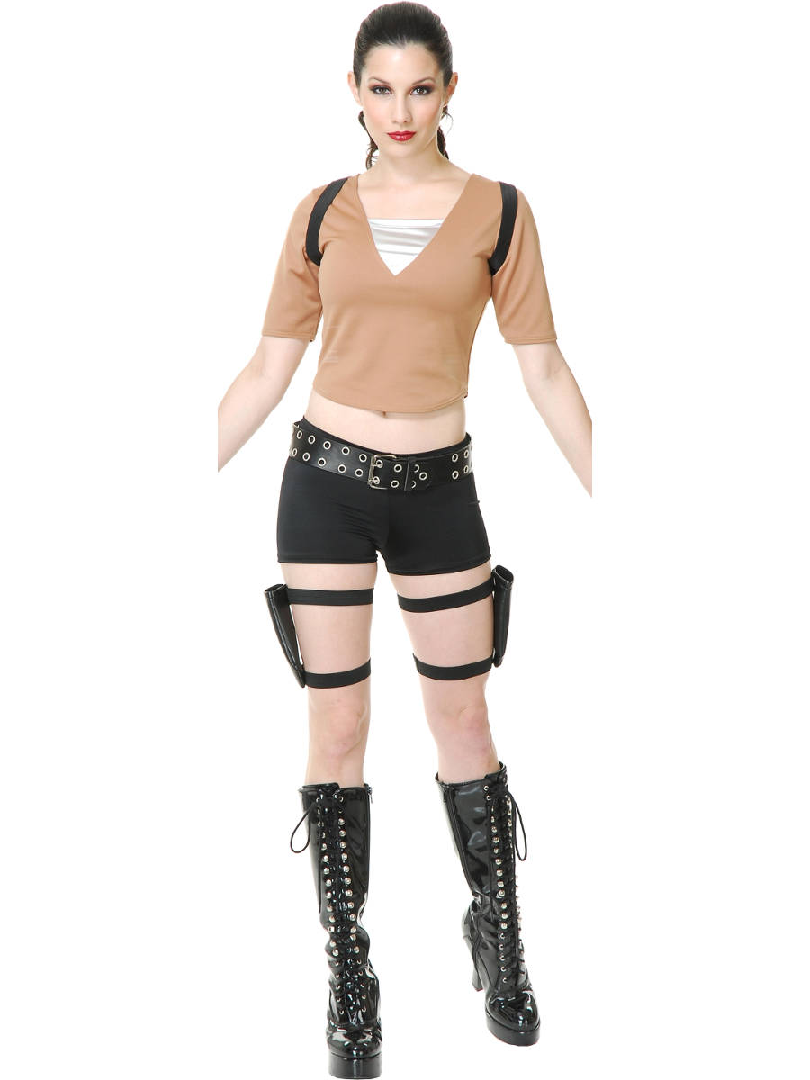 Womens Adventurer Lara Croft Tomb Raider Hero Fancy Dress Costume