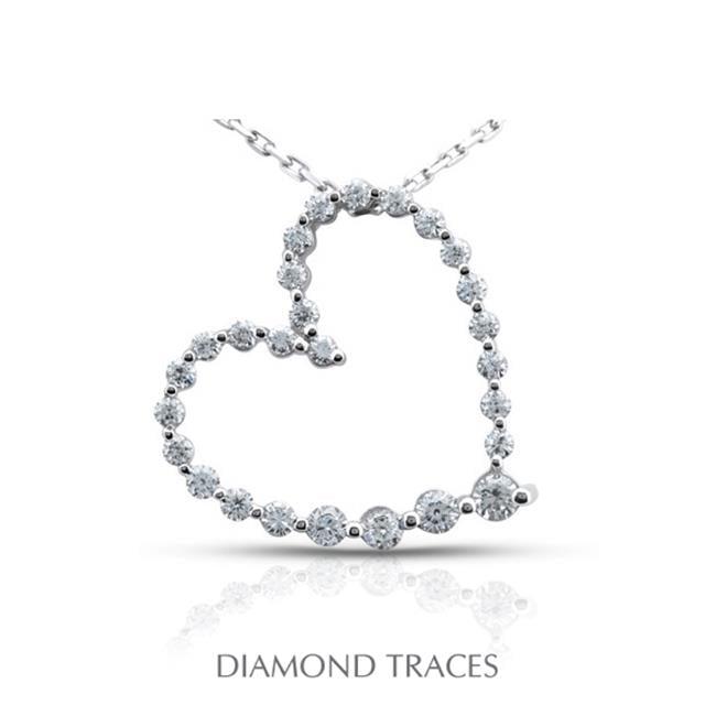 Diamond Traces UD-GOS388-5007 0.89 Carat Total Natural Diamonds 18K White Gold Prong Setting Heart Shape Fashion Pendant - image 1 of 1