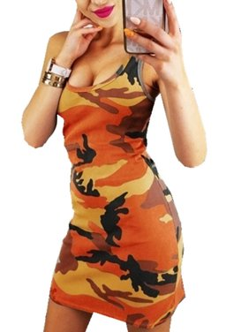 Camouflage Print Women Sleeveless Skinny Bodycon Dress
