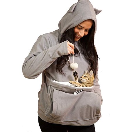 KITTYROO Cat Hoodie, The Original AS SEEN ON TV Kitty Carrying Sweatshirt, with Super Soft Kangaroo Pet Pouch (Small)
