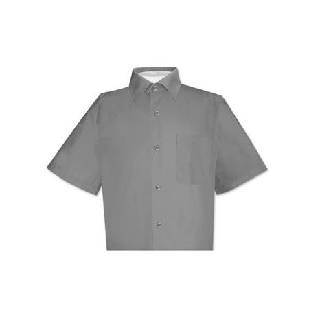 - Biagio 100% Cotton Men's Short Sleeve Solid CHARCOAL GREY Color Dress Shirt