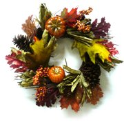 Glitter Orange Mixed Pumpkins Harvest Wreath