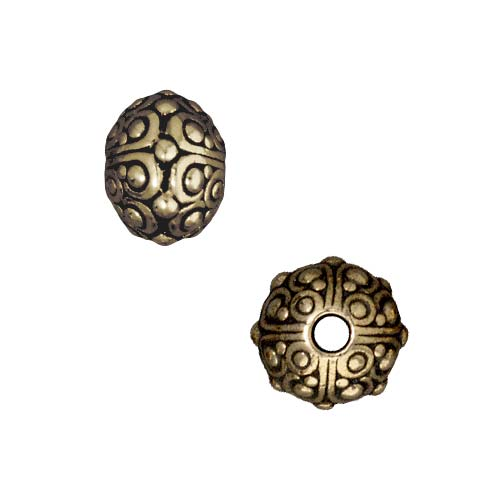 Brass Oxide Finish Lead-Free Pewter Large Hole 'Oasis' Spacer Beads 10mm (2)