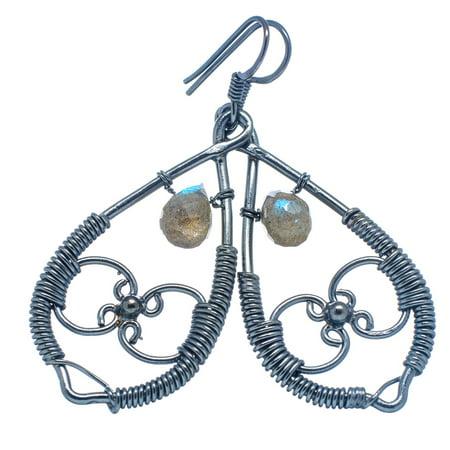 Labradorite Black Rhodium Plated Earrings 2 1/8