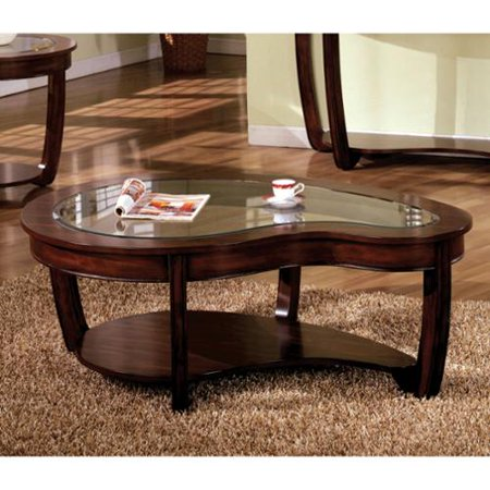 Furniture of america curve dark cherry glass top coffee for Cherry wood glass coffee table