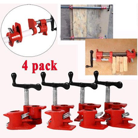 Herchr Wood Pipe Clamp Set Woodworking Cast Vise Heavy Duty Wide Base Iron Wood Metal Clamp 4 Set