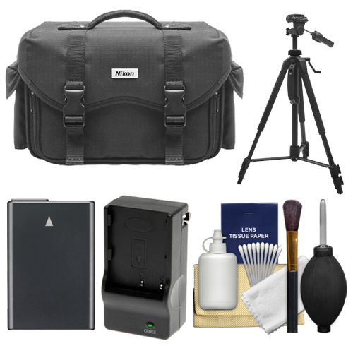 Nikon 5874 Digital SLR Camera Case - Gadget Bag with EN-EL14 Battery + Charger + Tripod + Cleaning Kit for D3100, D3200, D3000, D5100, D5200, D5300