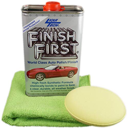 Finish First Car Polish & Finish (16 oz) and Microfiber Cloth & Pad Kit (3 Items)