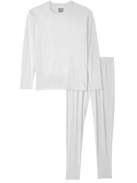Men's Ultra-Soft Tagless Fleece Lined Thermal Top & Bottom Underwear Set, Black, Small