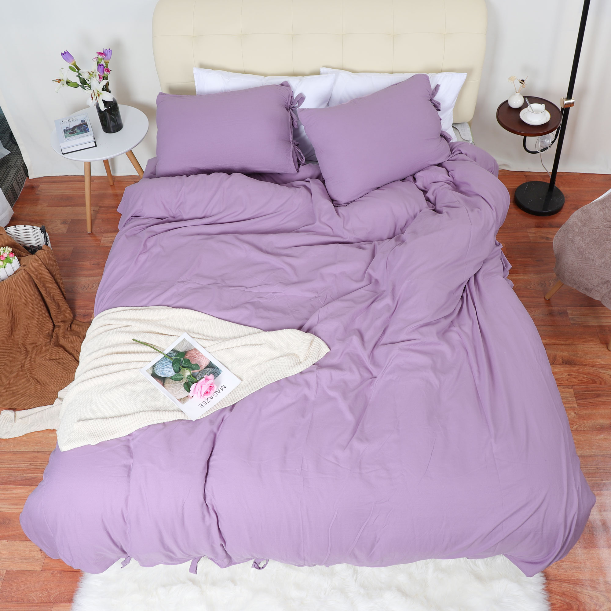 Duvet Cover And Shams Egyptian Comfort 1800 Count Bedding Set Light Purple Queen - image 7 of 8