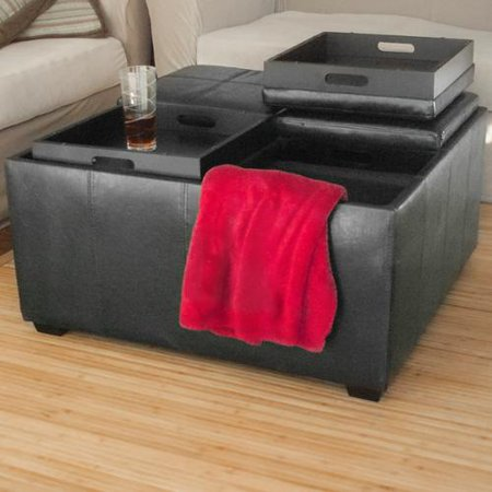 Black Leather Ottoman Coffee Table w/ 4 Tray Tops and Storage Bench - Black Leather Ottoman Coffee Table W/ 4 Tray Tops And Storage