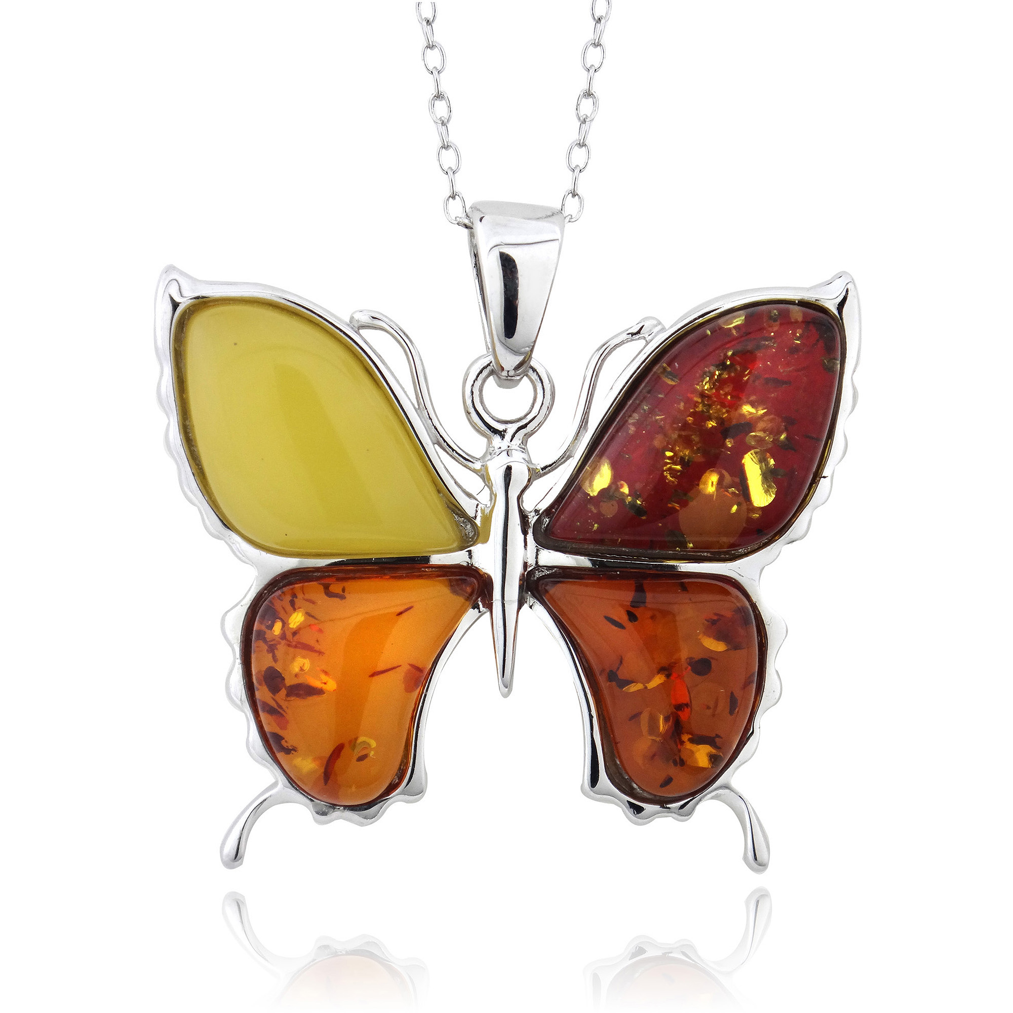 """Amber Nights Multi Amber Sterling Silver Butterfly Pendant, 18"""" Rolo Chain"""