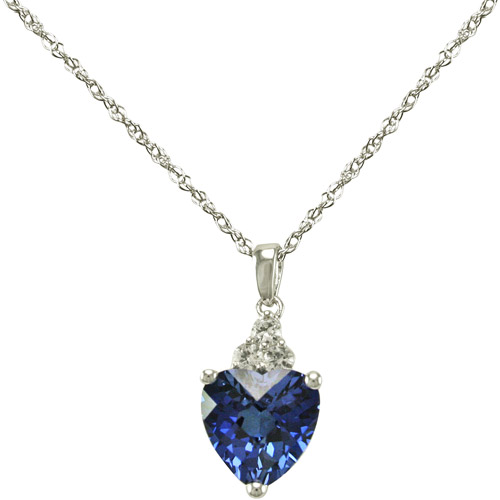 Created Blue Sapphire Heart with Created White Sapphire Accents crafted in Sterling Silver Pendant, 18""