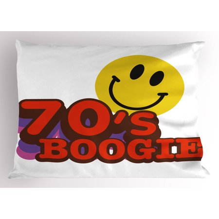 70s Party Pillow Sham Seventies Boogie Funny Smiling Emoticon Humorous Amusing Vibrant Print, Decorative Standard Queen Size Printed Pillowcase, 30 X 20 Inches, Yellow Red Purple, by Ambesonne