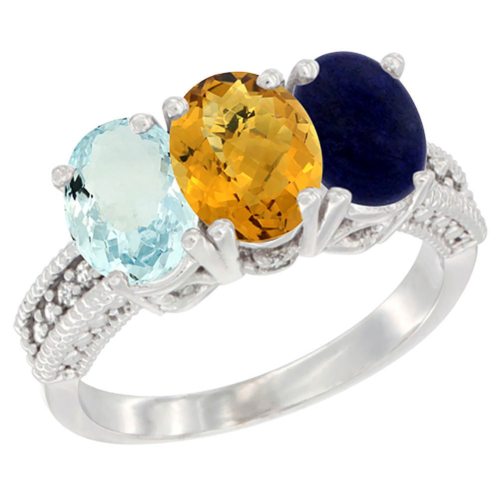14K White Gold Natural Aquamarine, Whisky Quartz & Lapis Ring 3-Stone Oval 7x5 mm Diamond Accent, sizes 5 10 by WorldJewels