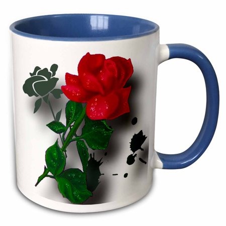 3dRose A long stemmed red rose with dew a grunge tribal background and shadows simply stunning - Two Tone Blue Mug, 11-ounce