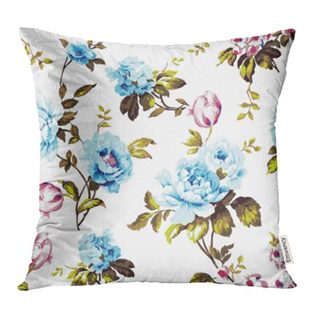 CMFUN Shabby Chic Vintage Roses Tulips Forget Me Nots Classic Chintz Floral Pillowcase Cushion Cases 18x18 inch