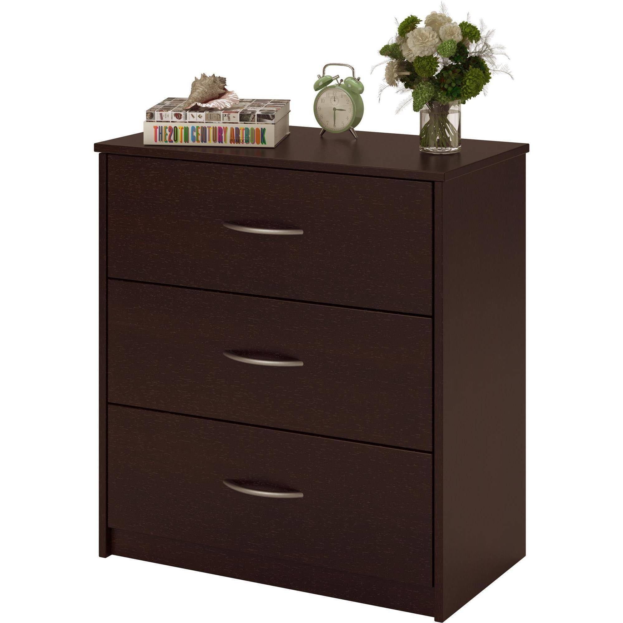 3 Drawer Dresser Chest Bedroom Furniture Black Brown White