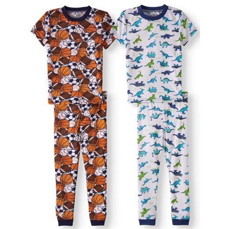 Short Sleeve Cotton Tight Fit Pajamas, 4pc Set (Baby Boys & Toddler Boys) - Personalized Pajamas For Toddlers