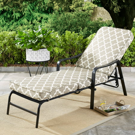 Mainstays Cabot Grove Outdoor Chaise Lounge with Gray/White Cushions ()