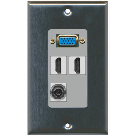 Svga Wall Plate - RiteAV - 1 x SVGA 2 x HDMI and 1 x 3.5mm Audio Port Wall Plate - Stainless Steel/Gray