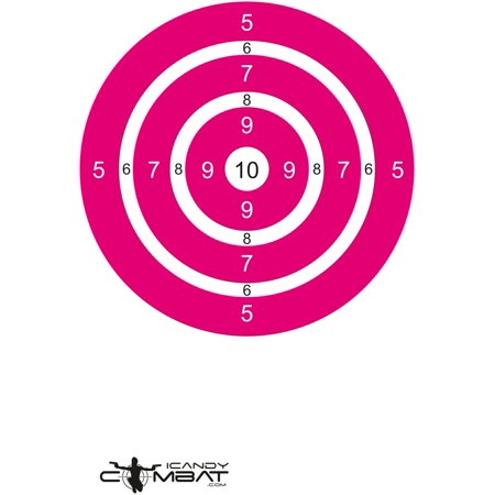 Bright Pink Bulls Eye Paper Targets For Girl Teen Woman Shooter Sight In Rifle Hand
