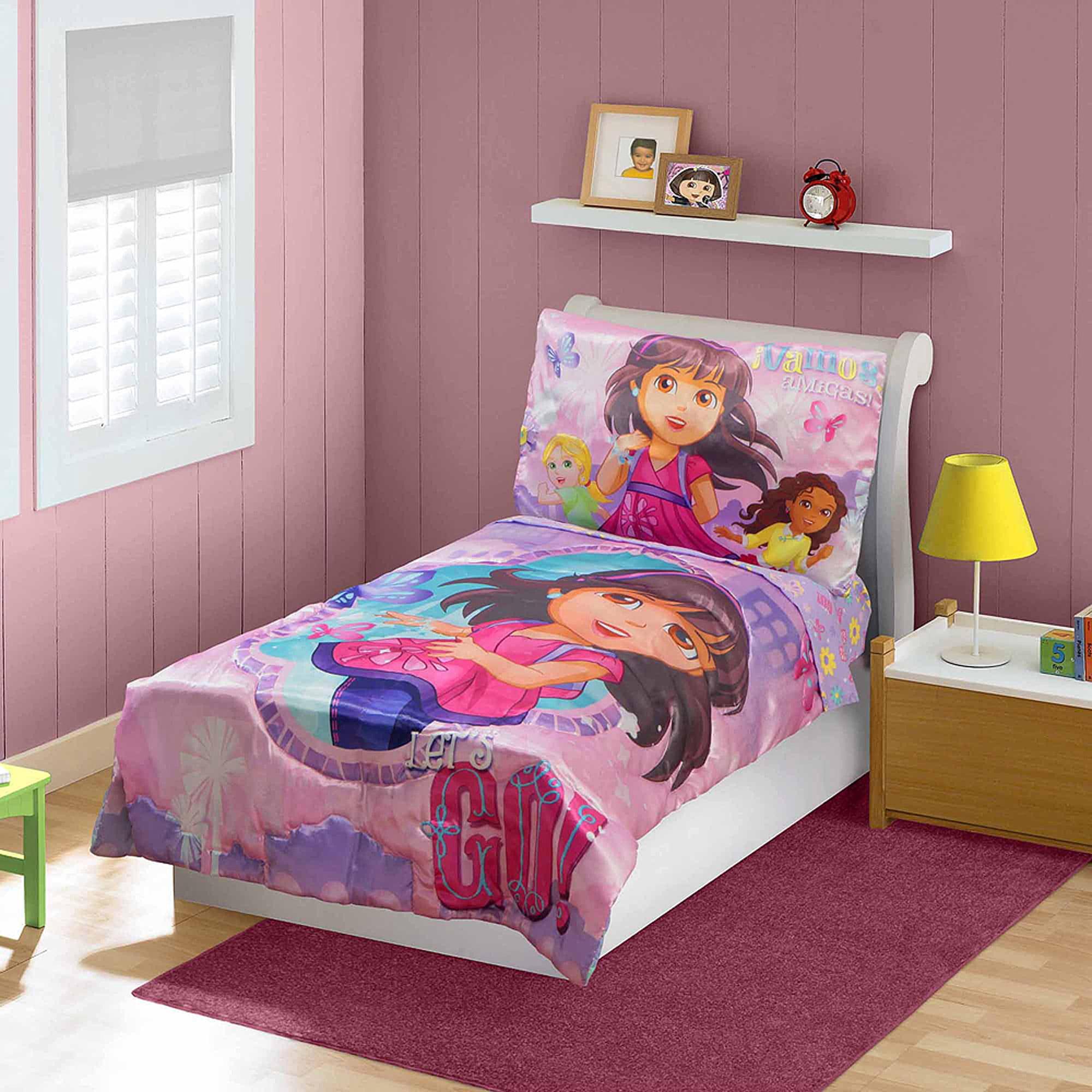 dora amp friends 3 piece toddler bedding set walmart com dora the explorer bedroom set household at hnhco