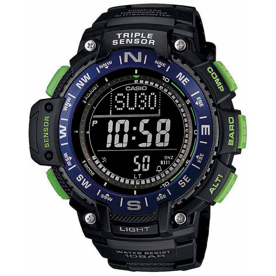 Casio Men's Triple Sensor Compass Watch, Black Dial