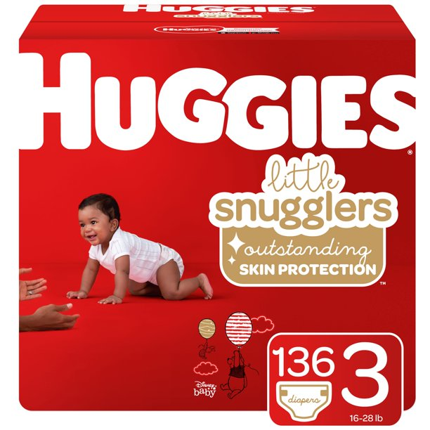 Huggies Little Snugglers Baby Diapers, Size 3, 136 Ct, Huge Pack