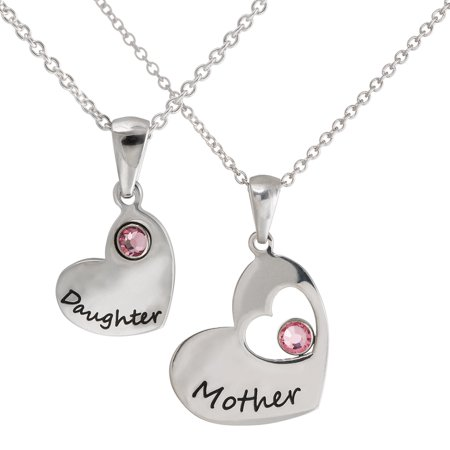 Connections From Hallmark Pink Crystals Stainless Steel  Mother  And  Daughter  Pendant Set  18