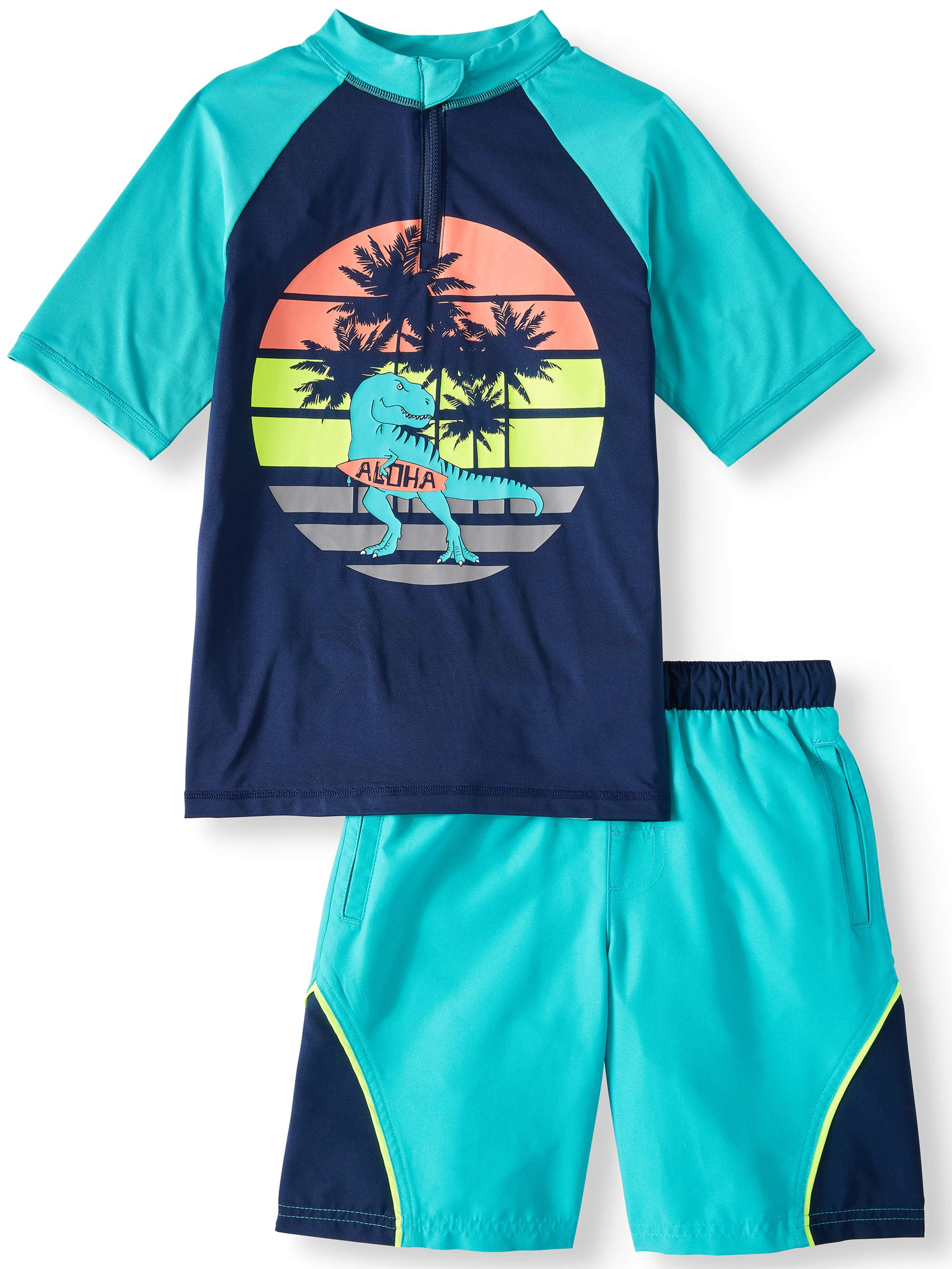 4fd3fd1dae Wonder Nation - Short Sleeve Rash Guard & Swim Trunk, 2-Piece Outfit Set  (Little Boys, Big Boys, & Husky) - Walmart.com