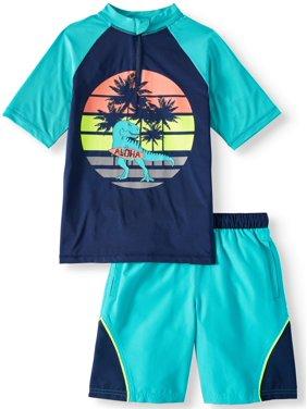 9c04d6ec82 Product Image Short Sleeve Rash Guard & Swim Trunk, 2-Piece Outfit Set  (Little Boys